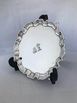Victorian Silver Crested Waiter Or Tray 1897 London CHARLES STUART HARRIS