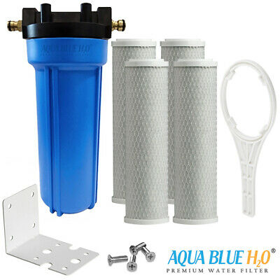 """4X Carbon Filter with 10""""x2.5"""" Single Caravan Water Filter System Whole Kit"""