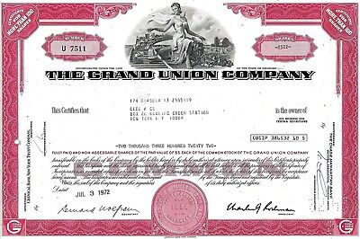 The Grand Union Company, 1972  (2.322 Shares)