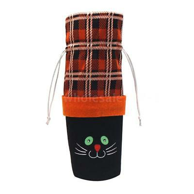 Halloween Non-Woven Wine Bottle Bag Pumpkin/Black Cat Candy Bag with G4Y0