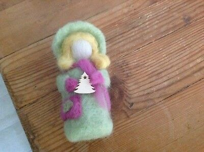 Gorgeous needle felted little girl...in pretty hooded coat
