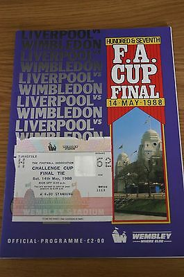Liverpool v Wimbledon 1988 FA Cup Final Programme and Ticket