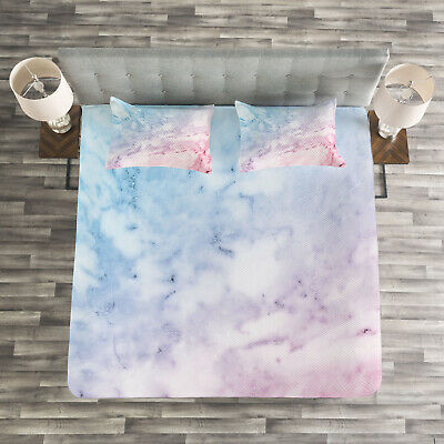 Marble Quilted Bedspread & Pillow Shams Set, Pastel Cloudy Antique Print