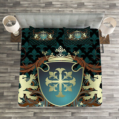 Medieval Quilted Bedspread & Pillow Shams Set, Middle Ages Coat of Arms Print