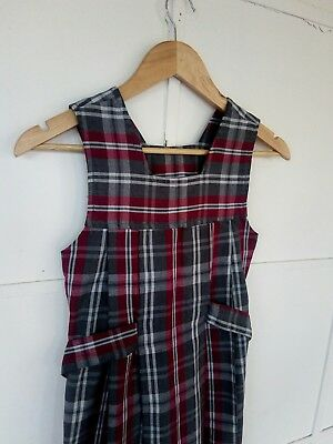 Girls School Uniform. Maroon, Grey & White. Size 8. Cosplay/ Dress up.