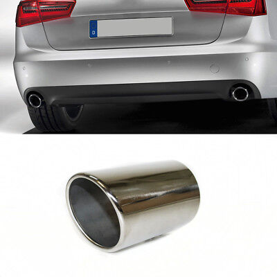 Chrome Car Exhaust Pipe Trim Tail Tip Muffler Stainless Steel For Audi A6 4F C6