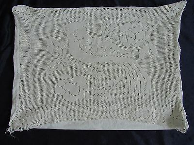 1965 French Crochet Filet Lace Pillow Case Bird Peacock Roses #vintage