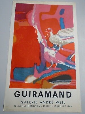 AFFICHE MOURLOT guiramand galerie andre weil 1963-lithographie-51x82cm