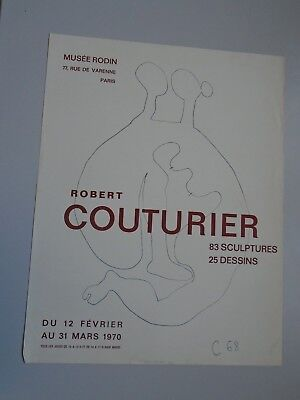AFFICHE ROBERT COUTURIER-MUSEE RODIN-PARIS 1970-LITHOGRAPHIE-50X65cm