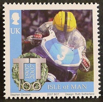 Joey Dunlop at Isle of Man TT Races on 2007 stamp - unmounted mint