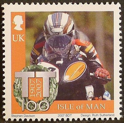 John McGuinness at Isle of Man TT Races on 2007 stamp - unmounted mint