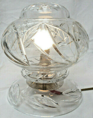 VINTAGE ART DECO BOHEMIA CRYSTAL LARGE BOUDOIR or TABLE LAMP VGC original 1930s