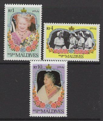 MALDIVE ISLANDS SG1099/101var 1985 QUEEN MOTHER CHANGED COLOURS MNH