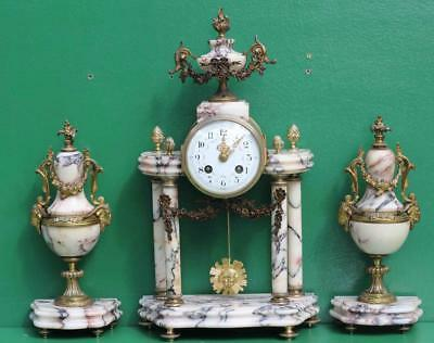 Antique French Pink Marble 8 Day Portico Garniture Clock Set