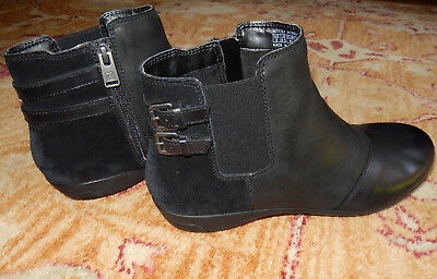 Booties Black Leather Suede Comfort Cobb Hill Rockport Clean MSRP $135.00 9M