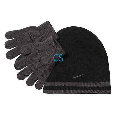 5542b488000 NWT-YOUTH BOYS 2 Pc Gray   Black Nike Reversible Beanie Hat   Gloves ...