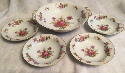"Vtg Harmony House Dresdania Japan 9.25"" Handled Serving Dish & 4 Bowls 5.5"" EUC"