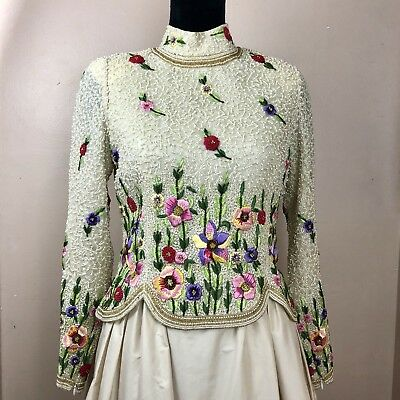Vintage Beaded Embroidered Gown Work Of Art STUNNING