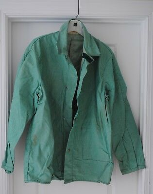 Vintage Flame Retardant Green Shirt Jacket Snap Velcro Welding Treated Cotton
