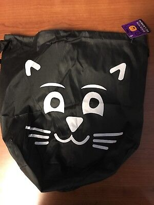 Halloween Black Cat Face Cinch Sac Sack NEW NWT Candy Tote
