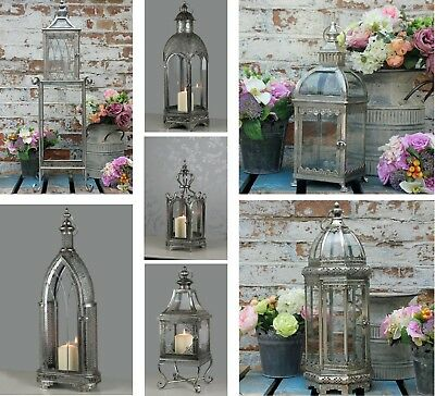Vintage Silver Garden Lantern Rustic Candle Holder Patio Light Metal Party Lamp