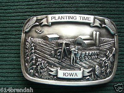 Vintage Planting Time - Iowa  Limited Edition Belt Buckle