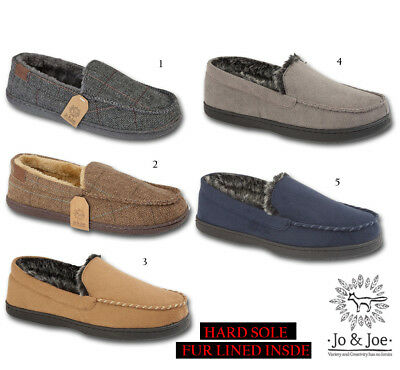 Mens Winchester Tweed Slip On Moccasin Winter Slippers Shoes UK 7 8 9 10 11 12