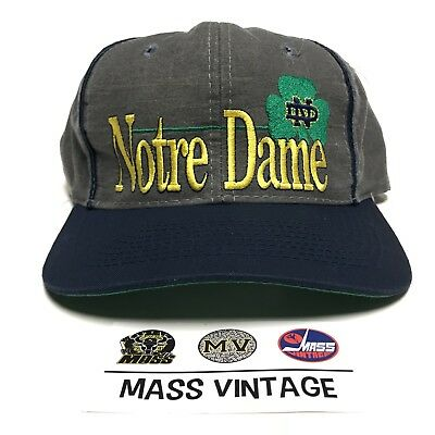 VINTAGE 90s Notre Dame Fighting Irish NCAA College Gray Hat Snapback Cap USA