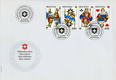 Switzerland 2018 FDC Swiss Jass 4v Strip Cover Cards Card Games Stamps