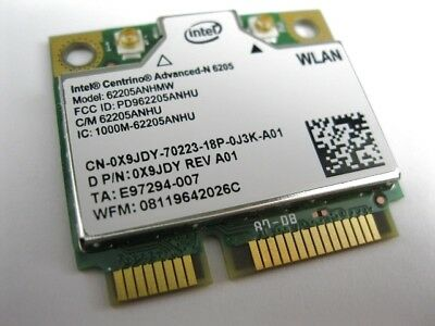 INTEL 6205 ADVANCED-N DUAL BAND 2.4GHz 5GHz 62205ANHMW WIRELESS CARD X9JDY