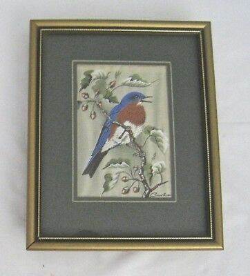"""Vintage Cash Silk Embroidered Picture Framed Robin Small 6"""" Wide"""