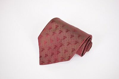 HUGO BOSS Silk Necktie Made in Italy in Maroon & Green Shimmer w/ Floral Design