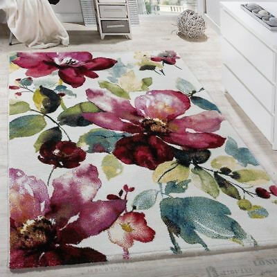 Floral Rug Modern Multi Colour Low Pile Carpet Small X Large Room Lounge Mat New