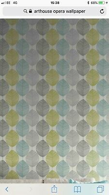 A Roll Of Arthouse Opera Retro Leaf Wallpaper Teal Lime Green