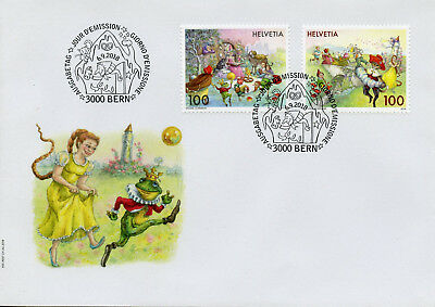 Switzerland 2018 FDC Fairy Tales Rapunzel Puss Boots Frog King 2v Cover Stamps