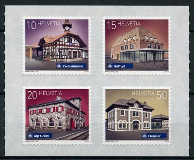 Switzerland 2018 MNH Swiss Railway Stations 4v S/A Set Architecture Rail Stamps
