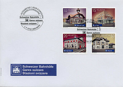 Switzerland 2018 FDC Swiss Railway Stations 4v SA Cover Architecture Rail Stamps