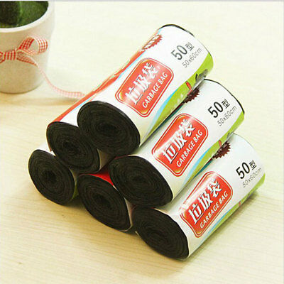 6634 1 Roll 16pcs Clean-up Black Waste Trash Rubbish Home Disposable Garbage Bag