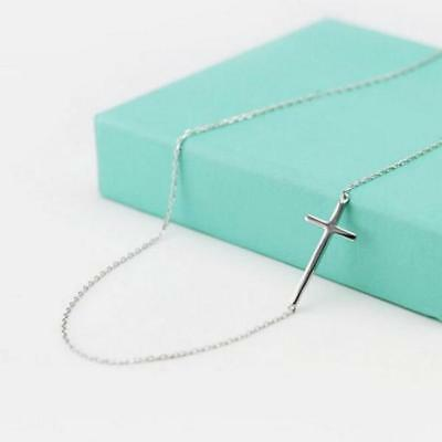 "Real sterling silver .925 small sideways cross pendant necklace 16""-18"""