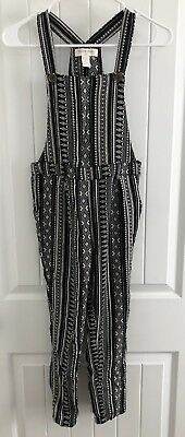 FOREVER 21 Kids Girls Black White Print Long Romper 11/12 Overall Pants