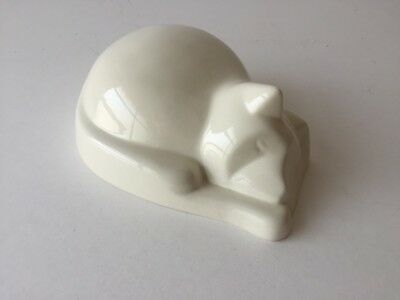 Zoophilous Cat Urn Abstract Sleeping Kitty, Ivory - Ashes / Cremation