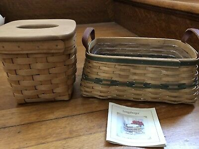 2002 Christmas Collection Traditions Basket AND Tissue Basket W/ Lid