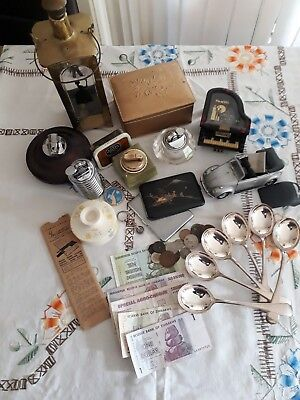JOB LOT OF ANTIQUE AND VINTAGE COLLECTABLE coins money lighters silver plate car