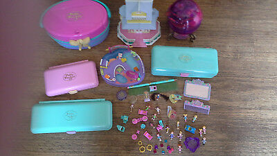 Polly Pocket Magic ball hatbox Pencil case Bundle lots figures dolls good cond.