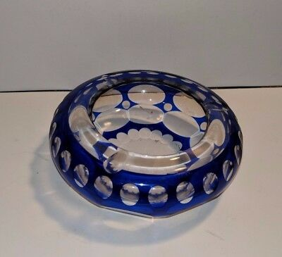 Vintage Bohemian blue cut to clear glass heavy crystal ashtray