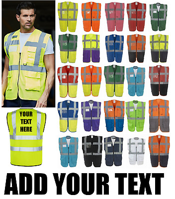PERSONALISED HI VIS VEST / EXECUTIVE VEST Safety Zipped Waistcoat Multi pocket