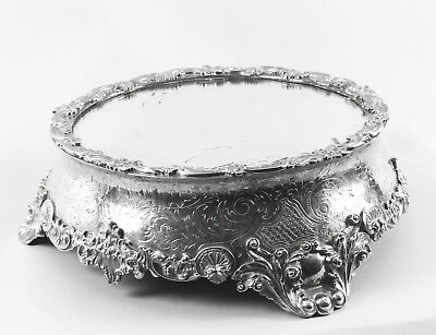 Antique English Silver Plated Mirrored Top Cake Stand 19th C