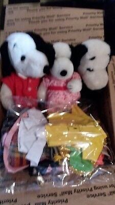 TWO Vintage Stuffed Snoopy and ONE Bella stuffed animals with clothes!!