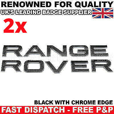 2X Gloss Black For Range Rover Lettering Badge Front Rear L322 P38 Sport Evoque