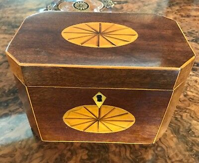 Antique Vintage Mahogany Tea Caddy Caddie  Box With Twin Divisional Interior